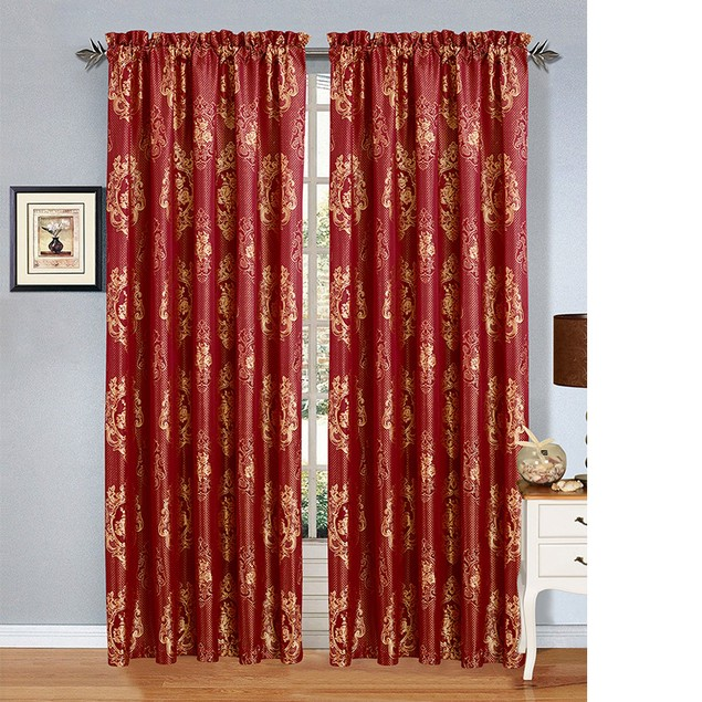 2 Pack:  Jacquard Design Curtain Panels