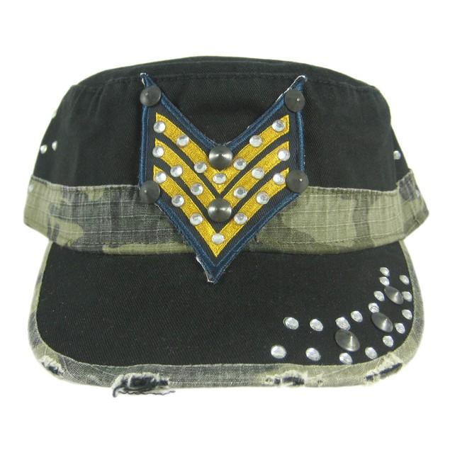 Rhinestone Accented Military Style Cadet Cap Black Mens Baseball Caps