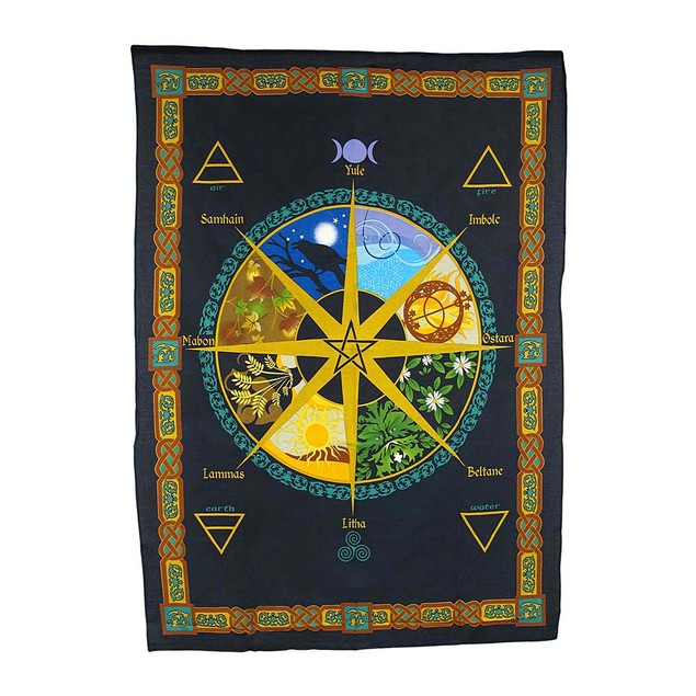 Pagan Calendar Natural Cycle Cotton Tapestry Tapestries