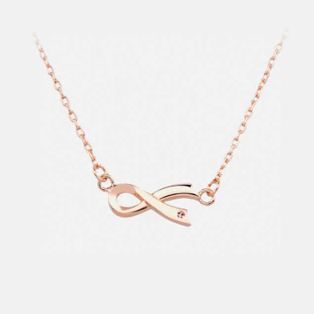 NBCF Sterling Silver - Ribbon Necklace
