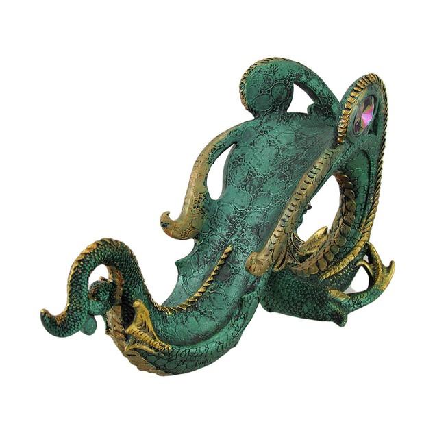 Metallic Green Jeweled Dragon Wine Holder Table Tabletop Wine Racks