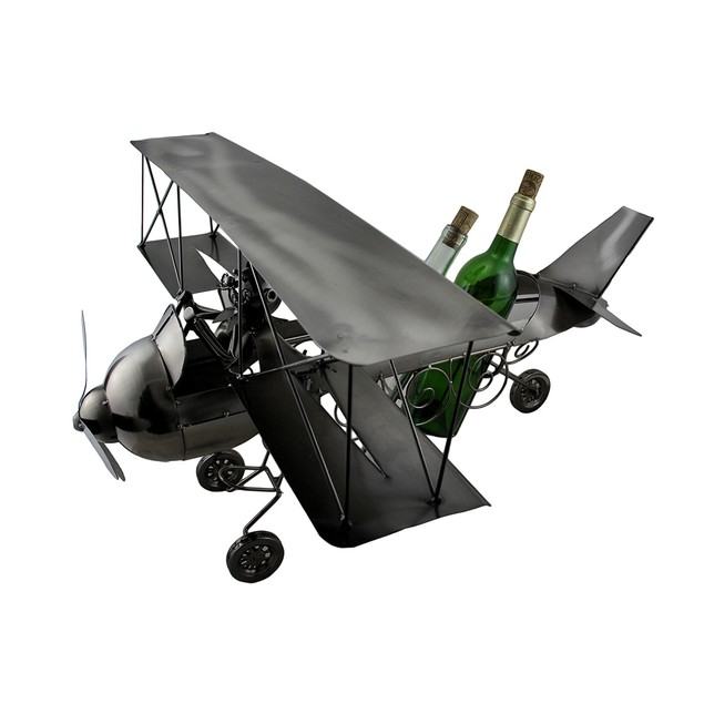 Sculptured Steel Biplane 3 Bottle Wine Holder Wine Bottle Holders