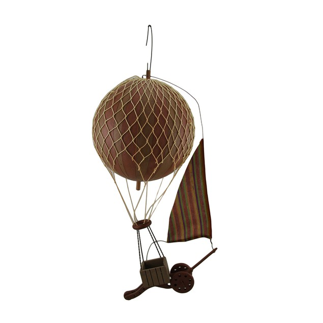 High Flying Retro Hot Air Balloon Hanging Wood Sculptures