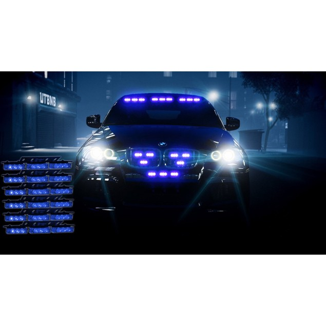Zone Tech 54 LED Emergency Warning Strobe Lights Blue Windshield Grille
