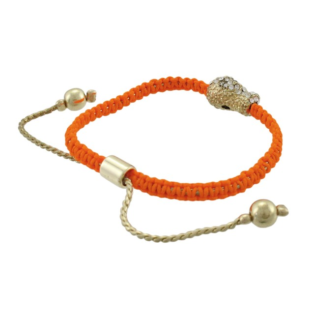 Bright Orange Woven Cord Adjustable Bracelet W/ Womens Cord Bracelets