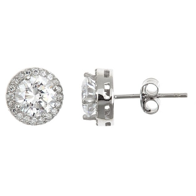 Sterling Silver Micropave Round Cut Stud Earrings
