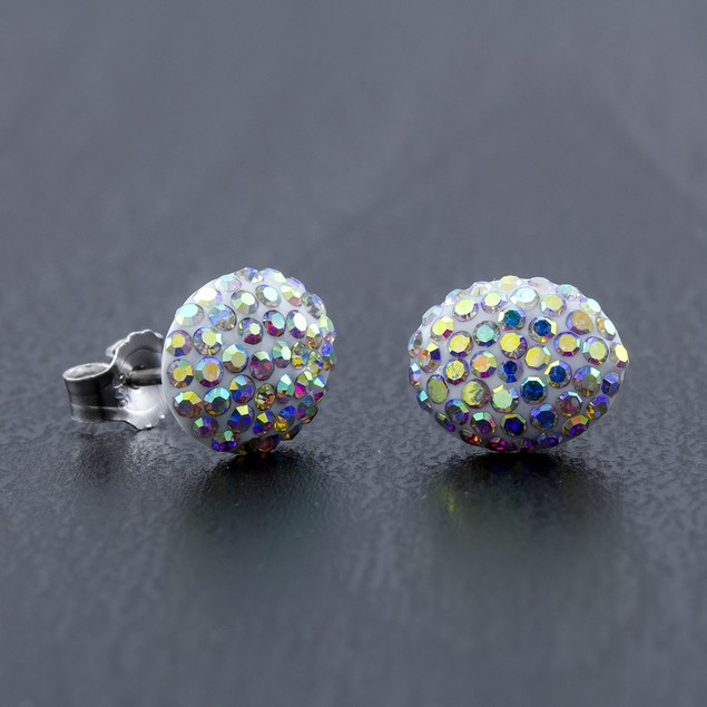 Sterling Silver Sparkling Crystal 10mm Stud Earrings - Oval Rainbow
