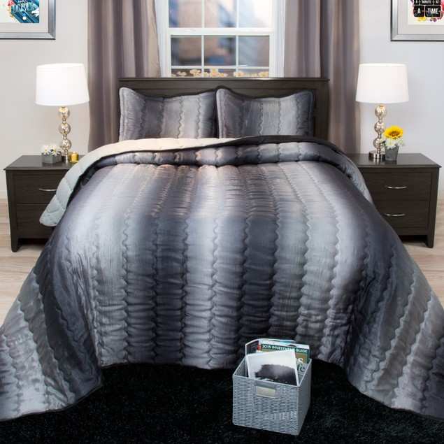 3 Piece Set: Lavish Home Striped Metallic Bedspread Set