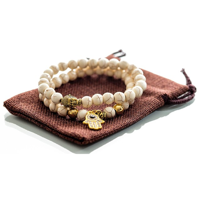 Gems of Peace Beaded Buddha Hamsa Bracelet