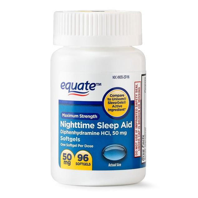 2-Pack Equate Maximum Strength Nighttime Sleep Aid Softgels (192 Total)