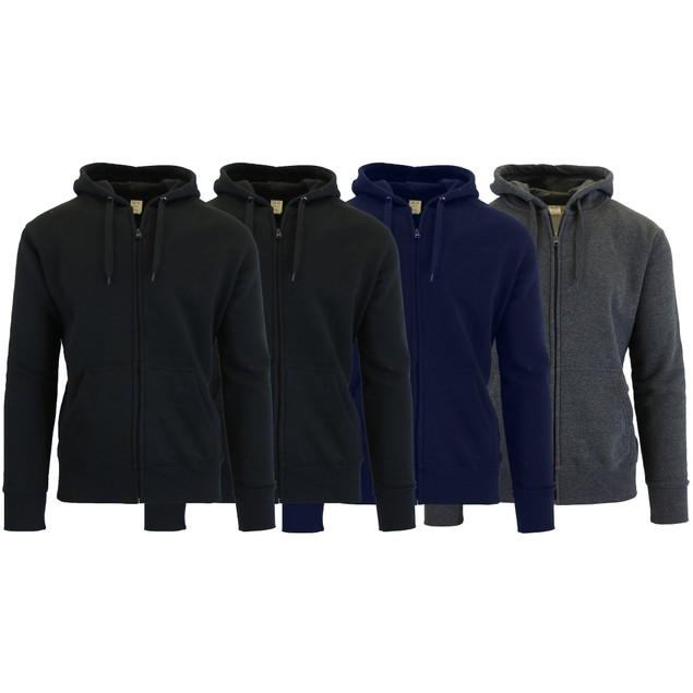 4-Pack Men's Fleece Zip Hoodie