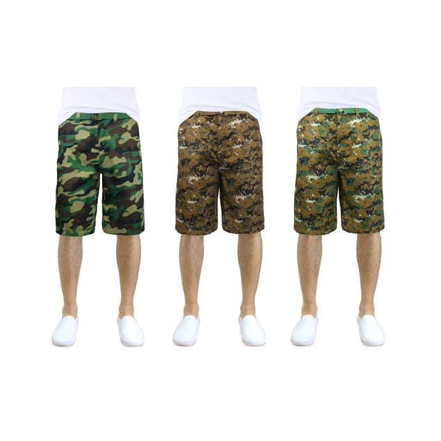 3-Pack Men's Flat-Front Slim-Fit Belted Camouflage Shorts