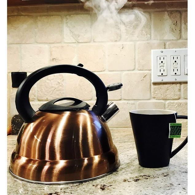 3-Quart Whistling Tea Kettle - Modern Stainless Steel Whistling Tea Pot