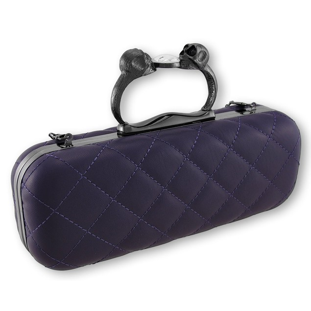 Purple Quilted Vinyl Clutch Purse With Gunmetal Womens Clutch Handbags