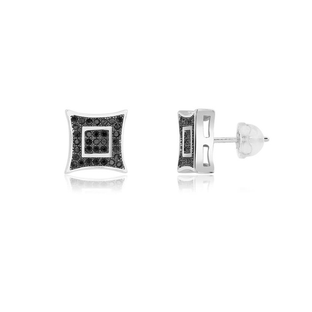 Sterling Silver Black Micro-Pave Diamond Stud Earrings