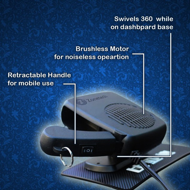 Zone Tech Portable Heater Snow Car Defroster Fan Swing-Out Handle 12V