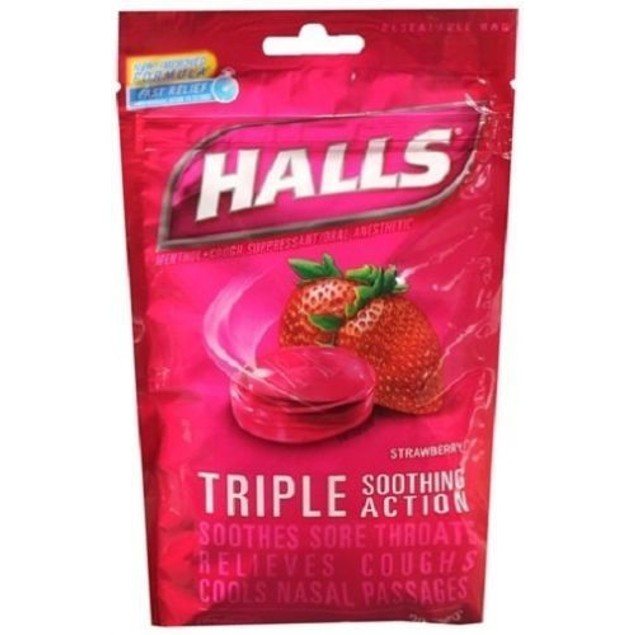 Halls Menthol Oral Anesthetic Drops Strawberry 6 Bag Pack