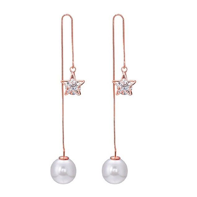 18kt Rose gold Pearl Cubic Zirconia Drop Earrings