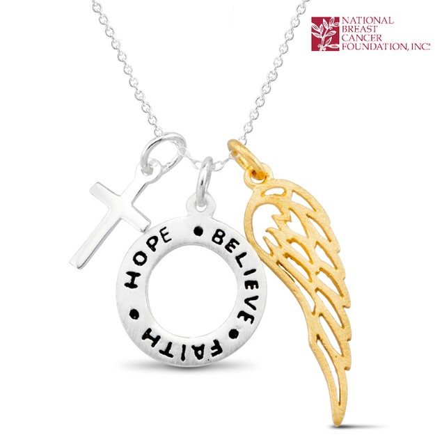 National Breast Cancer Foundation Inspirational Jewelry - Sterling Silver Hope-Believe-Faith Pendant
