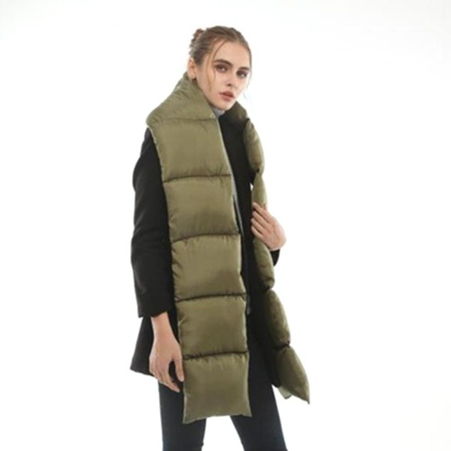 C.C. Quilted Nylon Puffer Scarf