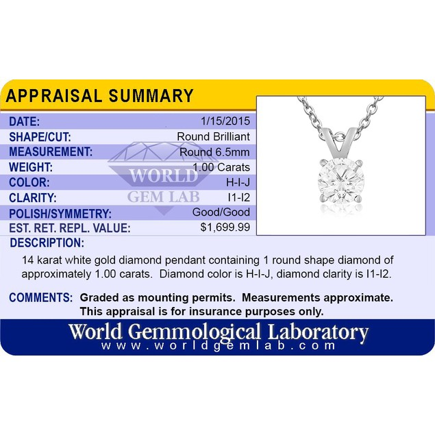 14k White Gold 1 Carat Genuine Diamond Solitaire Necklace