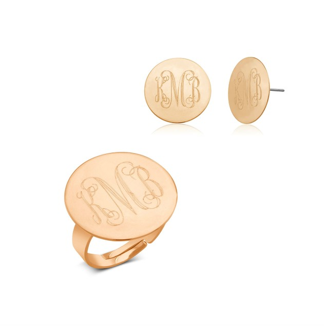 Monogrammed Ring & Earrings Jewelry Set - 3 Colors