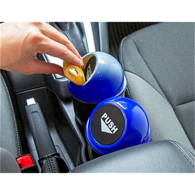 Zone Tech Black Blue Portable Mini Car Garbage Trash Can Holder Litter Bin