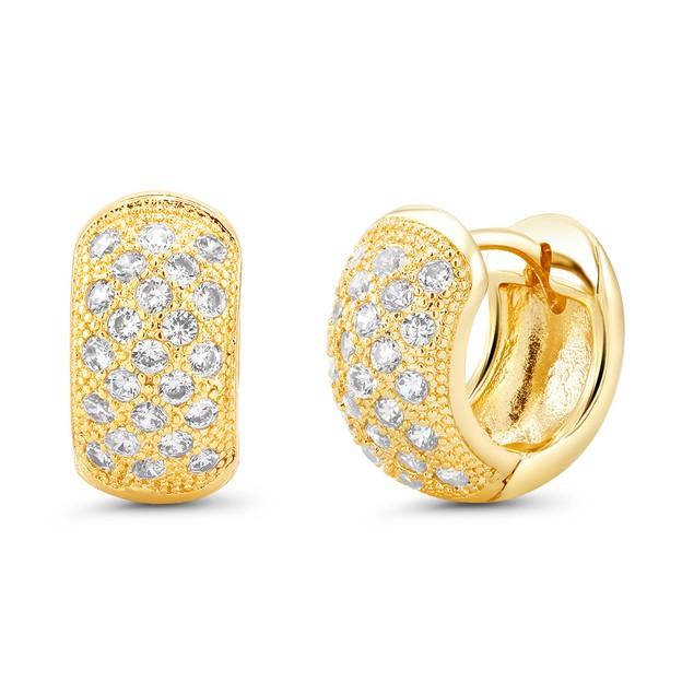 18kt Yellow Mini Goldtone Cubic zirconia  Huggie Earrings