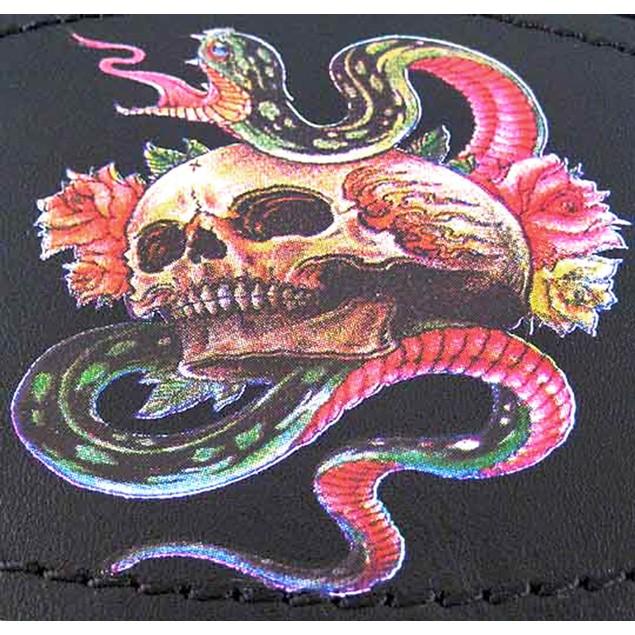 Chrome & Black Leather Tattoo Skull / Snake Belt Mens Belt Buckles
