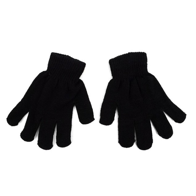 Kid's Winter Black Knitted Hat & Gloves Set
