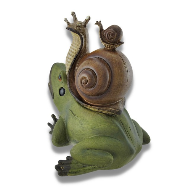 Frog With Snail Hitchhikers Statue Statues