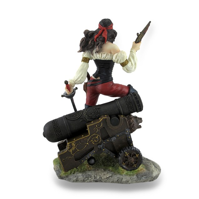 Female Pirate Standing On Cannon Holding Pistol Statues
