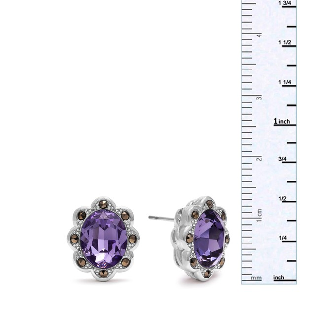 4ct Oval Shape Crystal Tanzanite and Marcasite Earrings