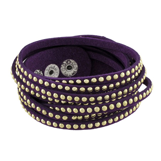 Purple 6 Strand Chrome Studded Wrap Bracelet Womens Wrap Bracelets