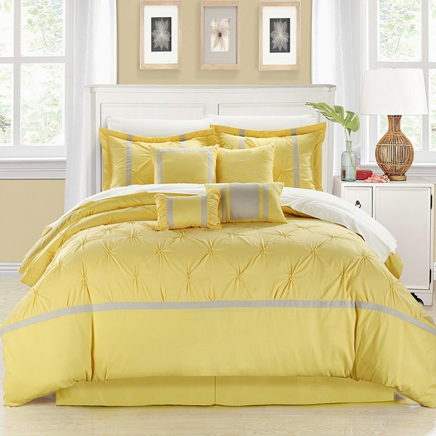 Chic Home 8 Pc. Verdy Oversized and Overfilled Pinch Pleat Comforter Set
