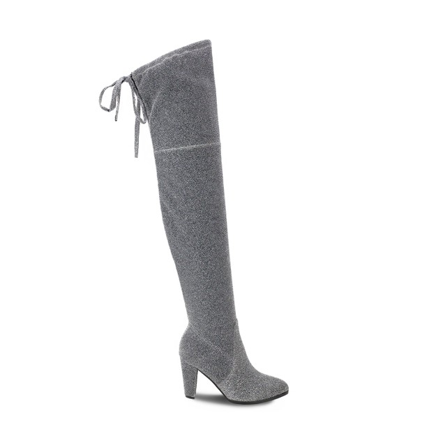 Olivia Miller 'Mastic' Shimmer Shine Top Back Lace Heel Thigh High Boots