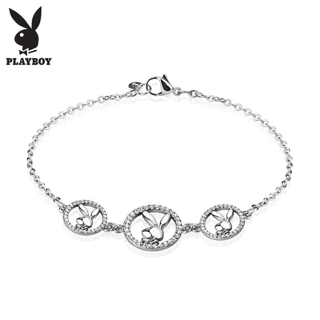 Gemmed Playboy Bunny Logo Stainless Steel Chain Bracelet
