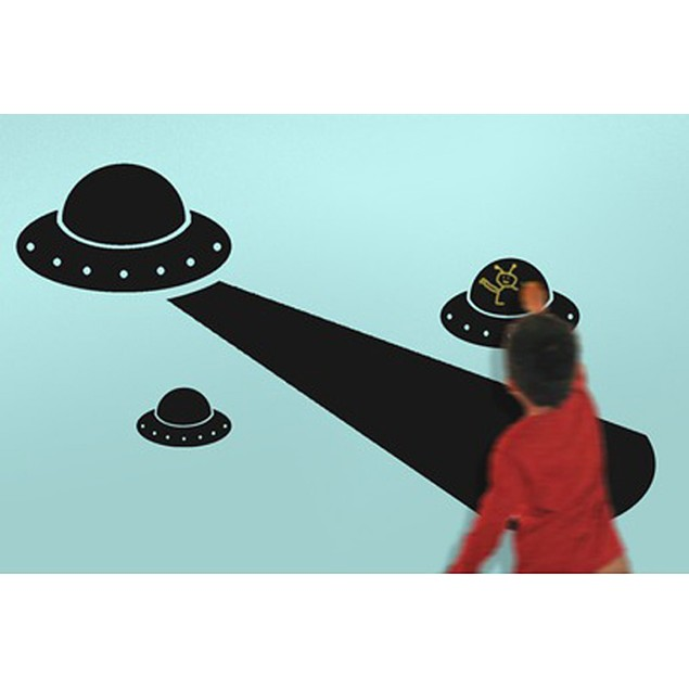 Children`S Chalkals Alien Invasion Spaceship Wall Decor Stickers