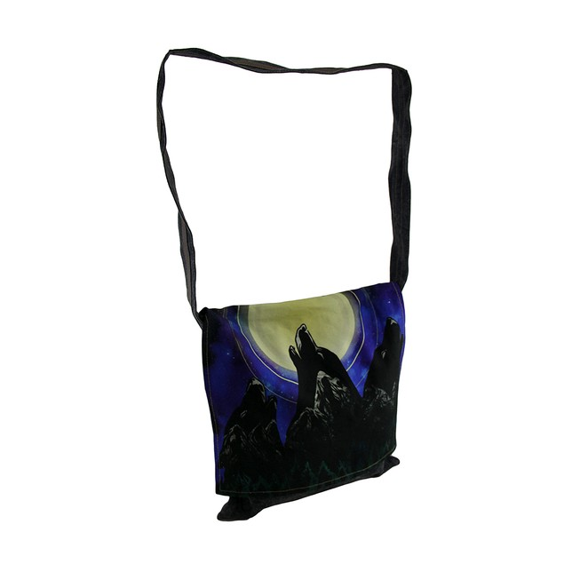 Howling Wolves Stonewashed Denim Messenger Bag Womens Messenger Bags