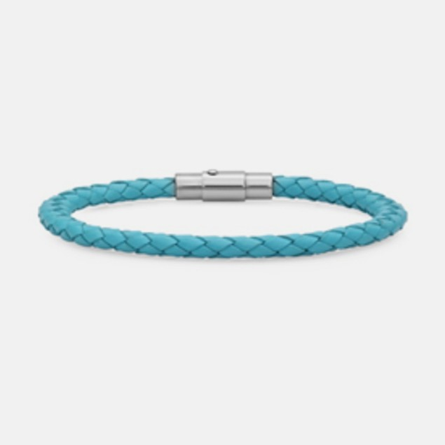 Genuine Braided Leather Bracelet - Blue