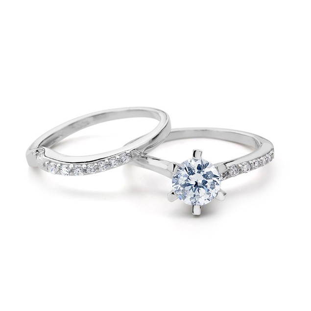 Simulated Diamond Engagement Ring Set - Crystals