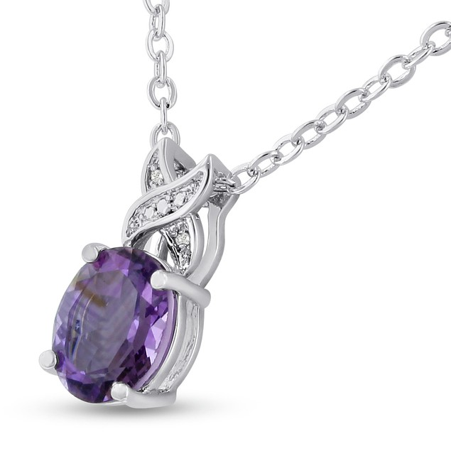 Platinum Plated 3 1/2 Carat Oval Shape Amethyst and Diamond Necklace, 18 Inches