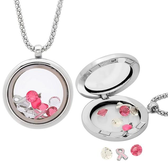 Metallic Locket with Pink Breast Cancer Ribbon