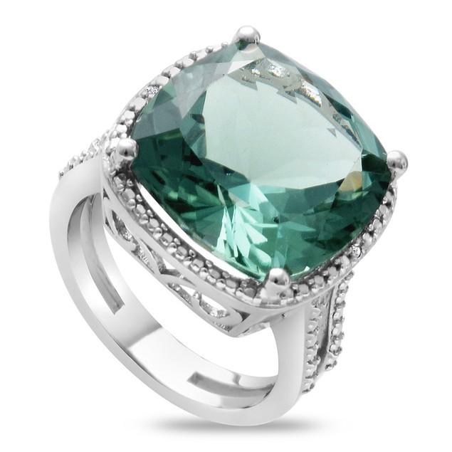 Split Shank Cushion Cut Green Amethyst Ring