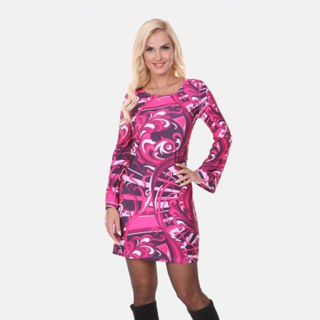 White Mark Guilana Long Sleeve Raspberry Print Dress