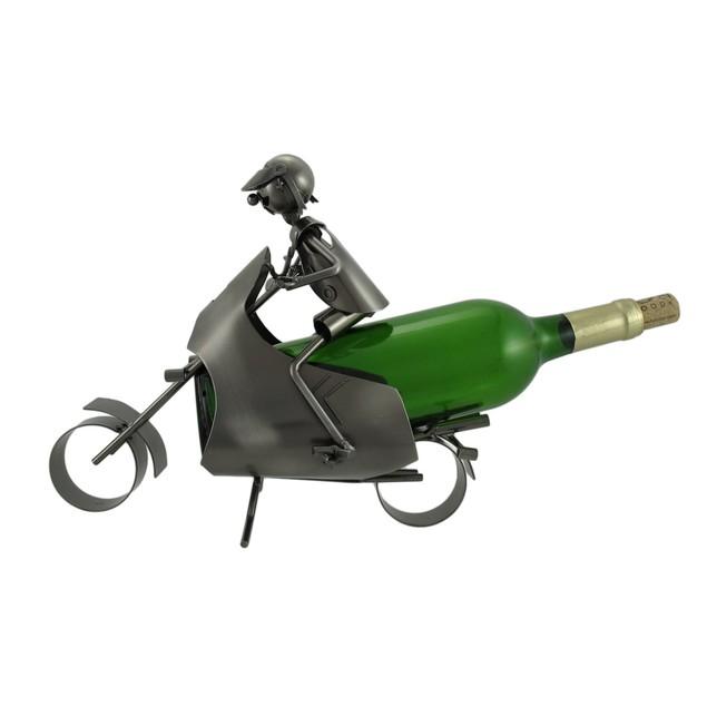 Motorcyclist Metal Sculpture Wine Bottle Display Tabletop Wine Racks