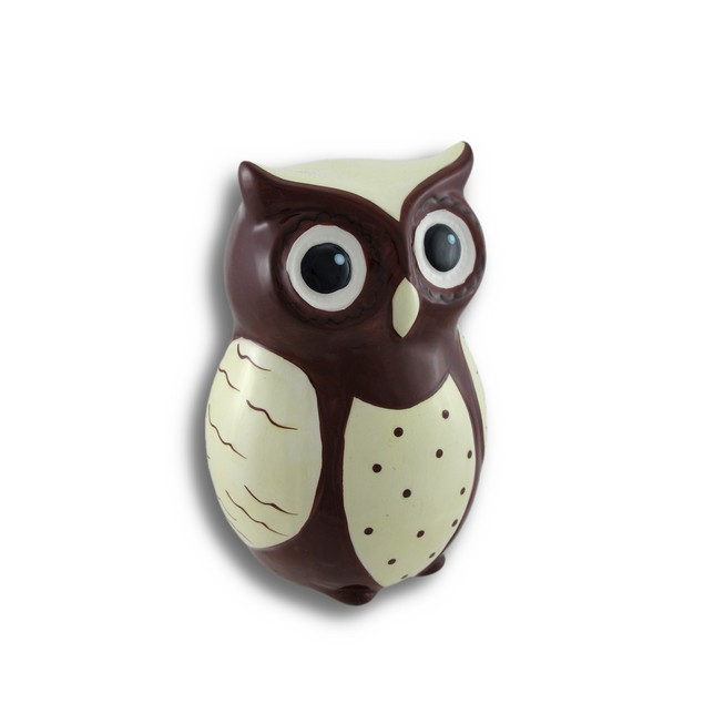Ceramic Wide-Eyed Brown And White Owl Coin Bank Toy Banks