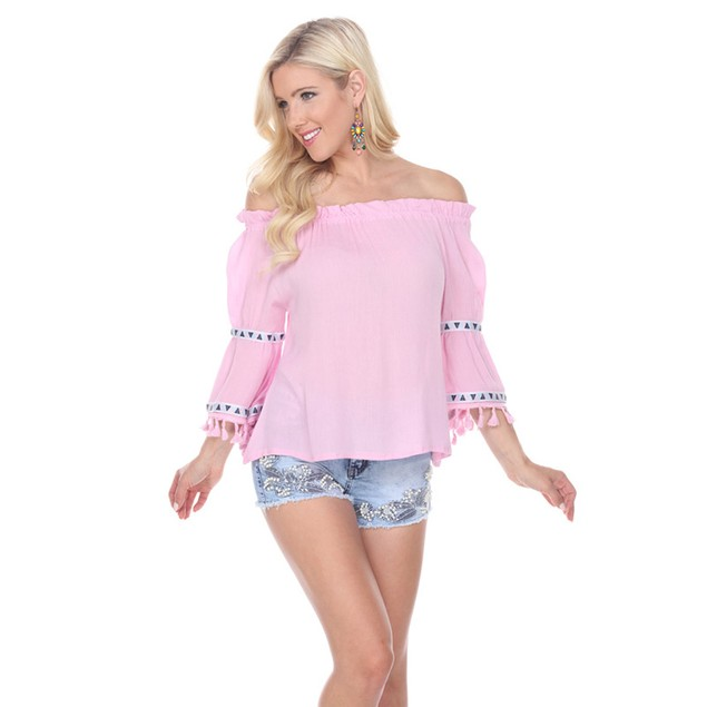 White Mark Peasant Top with Pom Pom Trim - 4 Colors