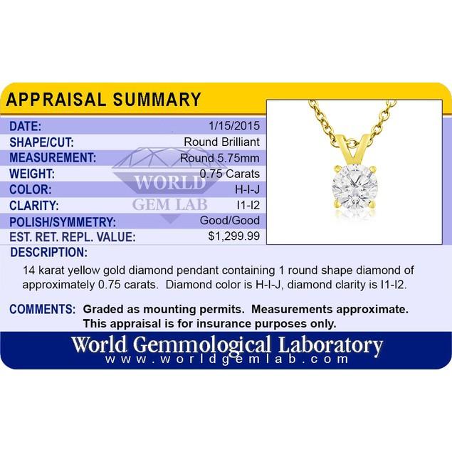 14k Yellow Gold 3/4 Carat Genuine Diamond Solitaire Necklace