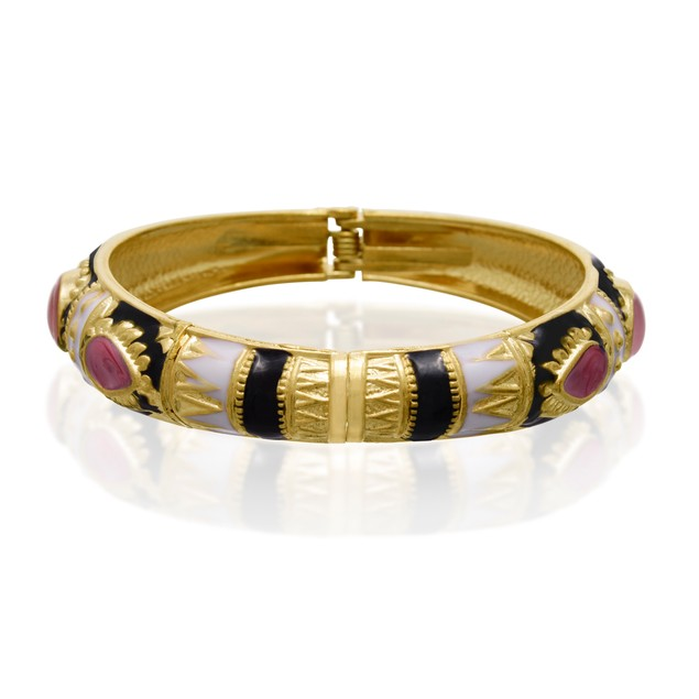 Gold Plated Japanese Inspired Enamel Bracelet